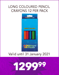 LONG COLOURED PENCIL CRAYONS 12 PER PACK, 1299,99