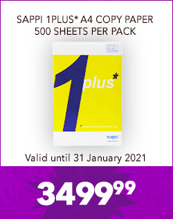 SAPPI 1PLUS* A4 COPY PAPER 500 SHEETS PER PACK, 3499,99
