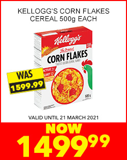 KELLOGG'S CORN FLAKES CEREAL 500g EACH, NOW 1499,99