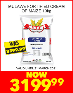 MULAWE FORTIFIED CREAM OF MAIZE 10kg, NOW 3199,99